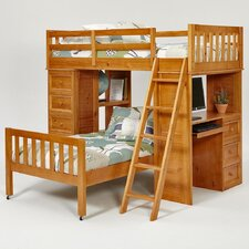 Twin over Twin L-Shaped Bunk Bed with Chest and Desk Ends