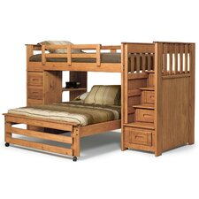 Twin over Full L-Shaped Bunk Bed with Stairway and 4 Drawer End
