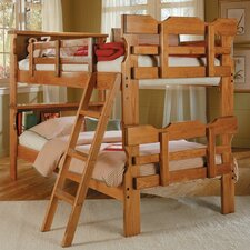 Twin over Twin Standard Bunk Bed with Scalloped Bookcase