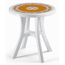 Pol Round Plastic Bistro Table with Mosaic Deco Top