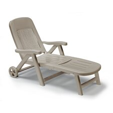Folding Reclining Sun Lounger with Wheel