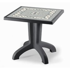 Daytona Square Plastic Dining Table with Iron Deco Top