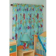 Tropical Seas Cotton Rod Pocket Curtain Panel (Set of 2)