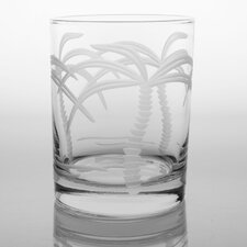 Palm Tree 14 Oz Double Old Fashioned Glass (Set of 4)