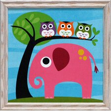 <strong>Artistic Reflections</strong> Elephant with Three Owls Framed Art
