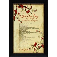 Live One Day at a Time Framed Textual Art