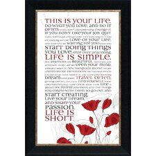 This Is Your Life Framed Textual Art