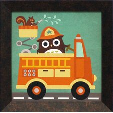 Owl in Firetruck and Squirrel Framed Art