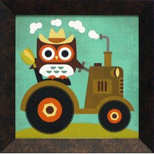 Owl on Tractor Framed Art
