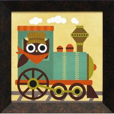 Owl Train Tractor Framed Art