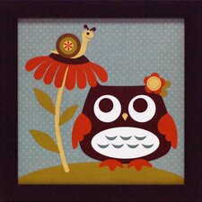 Owl Looking at Snail Framed Art