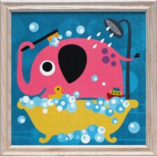 Elephant in Bathtub Framed Art