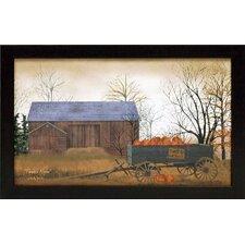 Pumpkin Wagon Framed Painting Print