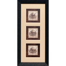 Faith Family Friends Triple Framed Textual Art