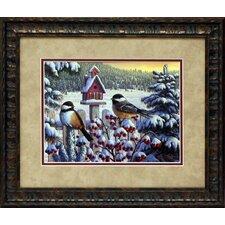 Winter Chickadees Framed Painting Print