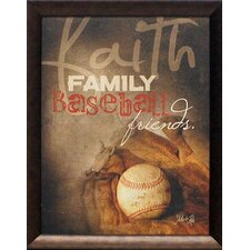 Faith Family Baseball Framed Graphic Art