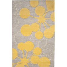Organic Modern Bubble Gray/Yellow Area Rug