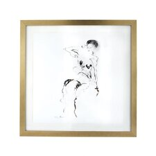 Charcoal and Ink Nude with Leaf Frame