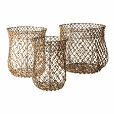 Nested Fisherman Rope Baskets 3 Piece Set