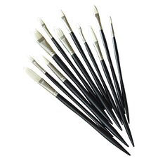 Artists' Hot Bristle Oil Flat Long Handle Brush (Set of 3)