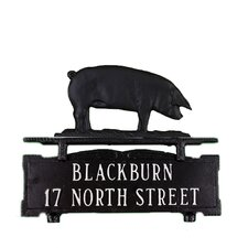 Two Line Mailbox Sign with Pig