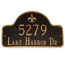 Fleur de Lis Two Line Arch Standard Address Plaque