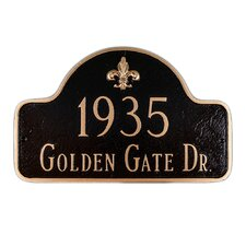 Fleur de Lis Two Line Arch Large Address Plaque