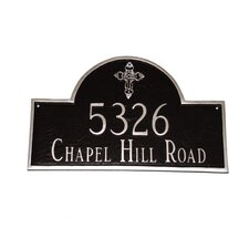 Classic Arch with Ornate Cross Address Plaque