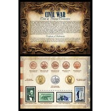 Civil War Coin and Stamp Collection Wall Framed Memorabilia