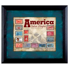 America Takes Flight Stamp Collection Wall Framed Memorabilia in Black