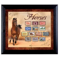 Horses on Stamps Wall Framed Vintage Advertisement in Black
