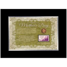 Mother's Day Celebration Desk Framed Memorabilia with Stamp and Coin in Black