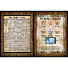 New York Times Battle of Gettysburg Coin and Stamp Collection Wall Framed Memorabilia