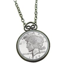 Peace Dollar Replica Silvertone Coin Pendant