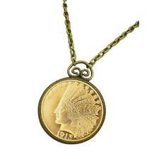 Indian Head Eagle Piece Replica Coin Goldtone Pendant