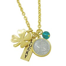 Rabbit Coin and Lucky Tag Goldtone Pendant