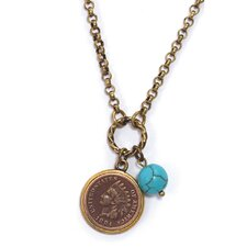 Indian Head Cent Genuine Bead Coppertone Pendant
