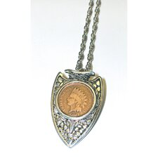 <strong>American Coin Treasures</strong> Indian Head Penny Silvertone Arrowhead Pendant