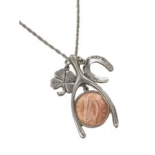 <strong>American Coin Treasures</strong> Lucky Irish Penny Silvertone Wish Bone Pendant