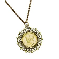<strong>American Coin Treasures</strong> Mercury Dime Beaded Pendant