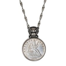 Civil War Silver Seated Liberty Coin Victorian Style Pendant