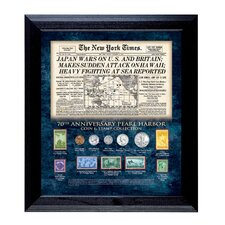 New York Times Pearl Harbor 70th Anniversary Coin and Stamp Wall Framed Memorabilia
