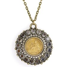 Round Cut Crystal French One Franc Coin Smokey Pendant Necklace