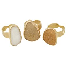 24K Gold Adjustable Druzy Ring