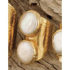 24K Gold Round Double Cultured Pearl Statement Ring