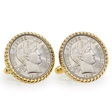 <strong>American Coin Treasures</strong> Barber Bezel Rope Cufflinks