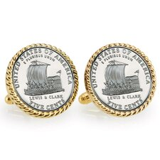Nickel Keelboat Bezel Rope Cuff Links