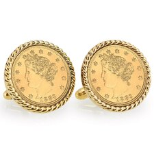 Nickel Liberty Bezel Rope Cuff Links