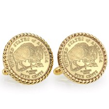 Nickel Bison Bezel Rope Cuff Links