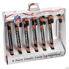 NFL Candy Cane Ornaments (Set of 6)
